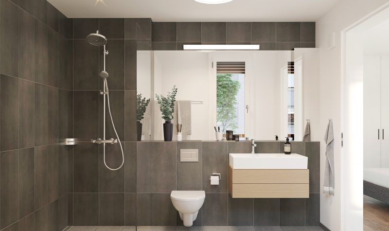 Modernes Badezimmer mit Walk-In Dusche in der Überbauung Strahmmatte Münchenbuchsee