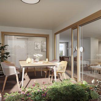Moderne Loggia in der Überbauung Strahmmatte Münchenbuchsee mit Blick in die lichtdurchflutete und moderne Wohnung